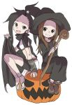2girls :d absurdres arm_warmers black_cape black_hair black_hat black_robe boots brown_eyes brown_footwear brown_hair cape commentary_request crossover fang hat highres holding jack-o'-lantern karakai_jouzu_no_takagi-san kunoichi_tsubaki_no_mune_no_uchi long_sleeves multiple_girls open_mouth sandals simple_background sitting smile takagi-san tsubaki_(kunoichi_tsubaki_no_mune_no_uchi) white_background witch_hat yamamoto_souichirou