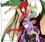 3girls axe camilla_(fire_emblem_if) cape closed_eyes dragon fire_emblem fire_emblem:_ankoku_ryuu_to_hikari_no_tsurugi fire_emblem:_monshou_no_nazo fire_emblem:_shin_ankoku_ryuu_to_hikari_no_tsurugi fire_emblem:_shin_monshou_no_nazo fire_emblem_heroes fire_emblem_if gloves green_hair holding holding_axe holding_weapon horns laegjarn_(fire_emblem_heroes) long_hair minerva_(fire_emblem) multiple_girls nintendo plzmakeephhappy purple_hair red_eyes redhead violet_eyes weapon