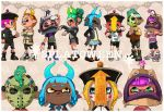 4boys 4girls blazer blush_stickers chinese_hat dark_skin demon_horns fake_horns green_hair halloween halloween_costume hat hockey_mask horns inkling jacket jiangshi mask multiple_boys multiple_girls octoling ofuda orange_hair pointy_ears purple_hair redhead sandals shoes short_hair short_shorts shorts skirt sneakers splatoon splatoon_(series) splatoon_2 suction_cups tentacle_hair yuta_agc