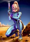 1girl blonde_hair blue_bodysuit blue_eyes blue_sky bodysuit closed_mouth commentary_request gun high_heels high_ponytail holding holding_gun holding_weapon looking_at_viewer metroid nintendo one_knee outdoors ponytail samus_aran skin_tight sky smile squatting weapon yamahara zero_suit