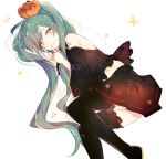 1girl bare_shoulders black_legwear black_skirt blue_hair closed_mouth commentary detached_sleeves fingernails food_themed_hair_ornament grey_eyes hair_ornament halloween hatsune_miku index_finger_raised long_hair long_sleeves looking_at_viewer lpip pumpkin pumpkin_hair_ornament shoulder_tattoo skirt smile solo star symbol_commentary tattoo thigh-highs twintails very_long_hair vocaloid