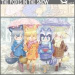 2koma 4girls absurdres animal_ears aqua_eyes backpack bag bangs bara_bara_(pop_pop) black_hair blonde_hair blush boots brown_eyes brown_hair buttons casual closed_mouth coat comic common_raccoon_(kemono_friends) contemporary day extra_ears ezo_red_fox_(kemono_friends) fennec_(kemono_friends) fingerless_gloves fox_ears fox_tail gloves grey_hair hair_between_eyes hand_in_pocket hand_on_another's_shoulder hand_up handheld_game_console hands_up highres holding holding_umbrella jacket kemono_friends long_sleeves looking_at_another looking_down multicolored_hair multiple_girls nose_blush open_mouth outdoors pantyhose plaid playing_games pocket pointy_ears raccoon_ears raccoon_tail scarf shoulder_bag silver_fox_(kemono_friends) sitting skirt smile snowing striped_tail tail two-tone_hair umbrella under_umbrella walking yellow_eyes