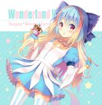 1girl blonde_hair blue_bow blue_dress blue_gloves blue_hair bow breasts brown_bow commentary_request copyright_name diagonal-striped_background diagonal_stripes dress dutch_angle food frilled_bow frills gloves hair_bow hands_up holding ice_cream kuroe_(sugarberry) little_alice_(wonderland_wars) long_hair long_sleeves looking_at_viewer multicolored_hair parted_lips puffy_short_sleeves puffy_sleeves short_over_long_sleeves short_sleeves small_breasts solo star striped striped_background striped_legwear two-tone_hair vertical-striped_legwear vertical_stripes very_long_hair wide_sleeves wonderland_wars