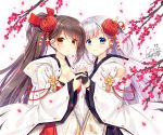 2girls azur_lane bangs black_gloves blue_eyes blush breasts brown_hair cherry_blossoms cleavage collarbone dated eyebrows_visible_through_hair gloves hair_between_eyes hair_ornament hand_holding hood hood_down hooded_kimono japanese_clothes kimono large_breasts long_hair looking_at_viewer mole mole_under_eye multiple_girls open_mouth partly_fingerless_gloves ponytail ryuuga_shou shoukaku_(azur_lane) sidelocks signature silver_hair smile very_long_hair wide_sleeves zuikaku_(azur_lane)