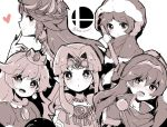 blush cape fingerless_gloves fire_emblem fire_emblem:_kakusei gloves goddess ice_climber kid_icarus kid_icarus_uprising long_hair looking_at_viewer lucina mario_(series) meiwari monochrome multiple_girls nana_(ice_climber) nintendo open_mouth palutena princess_peach princess_zelda short_hair simple_background smile super_mario_bros. super_smash_bros. super_smash_bros._ultimate sword the_legend_of_zelda the_legend_of_zelda:_a_link_between_worlds tiara weapon