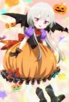 1girl boots demon_wings highres long_hair pumpkin_costume screencap silver_hair sophie_twilight stitched third-party_edit tonari_no_kyuuketsuki-san violet_eyes wings