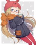 1girl abigail_williams_(fate/grand_order) alternate_costume animal_hat bespectacled black_jacket black_skirt blonde_hair blue_eyes blush bunny_hat closed_mouth commentary_request cup disposable_cup enpera fate/grand_order fate_(series) glasses hands_up hat holding holding_cup jacket long_hair long_sleeves looking_at_viewer miniskirt orange_scarf pantyhose pleated_skirt polka_dot polka_dot_skirt pouch red-framed_eyewear red_hat red_legwear scarf sidelocks skirt sleeves_past_fingers sleeves_past_wrists smile solo steam totatokeke very_long_hair