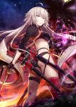 1girl ahoge ass bangs bikini black_bikini black_fire black_gloves black_jacket blush breasts choker clouds energy eyebrows_visible_through_hair fate/grand_order fate_(series) fire floating_hair full_moon gabiran gloves hair_between_eyes holding holding_sword holding_weapon jacket jeanne_d'arc_(alter_swimsuit_berserker) jeanne_d'arc_(fate)_(all) katana large_breasts long_hair looking_at_viewer looking_back moon multicolored multicolored_sky multiple_swords night o-ring o-ring_bikini orange_sky outdoors palm_tree red_legwear sheath sheathed shrug_(clothing) sidelocks silver_hair single_thighhigh sky solo star_(sky) starry_sky sunset swimsuit sword thigh-highs tree very_long_hair weapon white_hair yellow_eyes