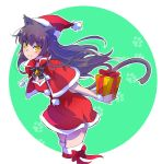 animal_ears bell black_hair blake_belladonna boots capelet cat_ears christmas dress fur_trim gift hat highres iesupa long_hair red_dress rwby santa_costume santa_hat thigh-highs thigh_boots yellow_eyes
