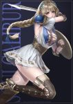 1girl absurdres armor blonde_hair blue_eyes braid breasts cleavage green_eyes highres jewelry large_breasts long_hair looking_at_viewer murasaki-sin shield simple_background single_braid solo sophitia_alexandra soul_calibur soul_calibur_vi sword weapon