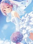 1girl alternate_costume alternate_hairstyle blue_sky bouquet bridal_veil clouds commentary_request day dress drill_hair dutch_angle elbow_gloves flower gloves head_wreath highres kantai_collection kida_mochi looking_at_viewer outdoors pink_eyes pink_hair sazanami_(kantai_collection) short_hair sky solo twintails veil wedding_dress white_dress white_gloves