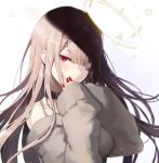 1girl bangs blush breasts choker closed_mouth collarbone commentary_request floating_hair grey_sweater hair_over_one_eye halo hand_to_own_mouth haori_iori highres large_breasts light_brown_hair light_particles long_hair looking_at_viewer nail_polish original red_eyes red_nails sidelocks simple_background sleeves_past_wrists smile solo sweater tsurime very_long_hair white_background