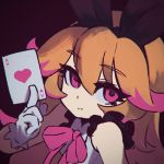 1girl ace ace_of_hearts animal_ears azure_striker_gunvolt black_background brown_hair card closed_mouth copyright_request eyebrows_visible_through_hair eyelashes fake_animal_ears gloves hairband holding long_hair looking_at_viewer neck_ribbon pink_eyes pink_neckwear pink_ribbon playing_card rabbit_ears reiesu_(reis) ribbon simple_background solo upper_body white_gloves