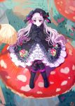 1girl black_footwear black_gloves boots character_request copyright_request dress frills gloves highres lavender_hair long_hair long_sleeves looking_at_viewer mushroom ribbon sitting smile solo violet_eyes yuura