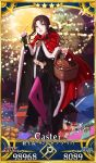 1girl bangs basket bell black_dress black_footwear black_hair bow box child christmas christmas_ornaments christmas_tree cloak dress facial_mark fate/grand_order fate_(series) fire forehead_mark fur_trim gift gift_box hinomoto_madoka long_hair long_sleeves looking_at_viewer matchbox matchstick open_mouth parted_bangs pink_legwear red_cloak santa_costume sesshouin_kiara sidelocks smile snow solo standing tattoo wavy_hair yellow_eyes younger