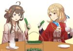 2girls ahoge aiguillette azur_lane bangs black_eyes blonde_hair braid brown_hair crossover crown_braid cucumber cup detached_sleeves eating food french_braid gloves hairband headgear japanese_clothes kantai_collection kongou_(kantai_collection) long_hair misumi_(niku-kyu) multiple_girls nontraditional_miko prince_of_wales_(azur_lane) red_eyes remodel_(kantai_collection) ribbon-trimmed_sleeves ribbon_trim saucer short_hair teacup tiered_tray vegetable white_gloves