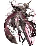 1girl chains cinderella_(sinoalice) collar cuffs dark_persona doll doll_joints empty_eyes fire full_body glowing glowing_eyes gun half-nightmare hat huge_weapon ji_no looking_at_viewer metal_collar official_art plantar_flexion purple_hair scowl shackles shotgun sinoalice solo torn_clothes transparent_background violet_eyes weapon witch_hat