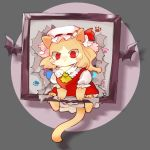 1girl animal animalization cat cat_focus chamaruku character_request closed_mouth clothed_animal commentary_request hat looking_at_viewer mob_cap no_eyebrows no_humans paws picture_frame red_eyes short_sleeves solo torn touhou yellow_neckwear