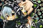 2girls 7:08 aek-999_(girls_frontline) bangs black_jacket blonde_hair blush bow cat_ear_headphones cat_tail chibi eyebrows_visible_through_hair girls_frontline green_eyes grin gun hair_between_eyes headphones headphones_around_neck hood jacket long_hair looking_at_viewer multiple_girls shell_casing silver_hair smile steyr_tmp submachine_gun tail tmp_(girls_frontline) weapon yellow_eyes