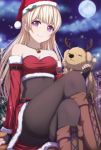 1girl :3 animal antlers bandeau bang_dream! bangs bare_shoulders bell bell_collar black_bodysuit black_gloves black_legwear blonde_hair bodysuit bodysuit_under_clothes boots breasts brown_footwear christmas cleavage closed_eyes closed_mouth collar crop_top cross-laced_footwear detached_sleeves dog earrings female fingerless_gloves full_moon fur-trimmed_skirt fur-trimmed_sleeves fur_trim gloves hat highres holly jewelry legs_crossed leon_(bang_dream!) long_hair looking_at_viewer moon narafume neck_bell necklace night outdoors pantyhose red_bandana red_skirt reindeer_antlers santa_costume santa_hat shirasagi_chisato sitting skirt small_breasts smile snowing strapless thighband_pantyhose violet_eyes