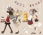 4girls argyle argyle_legwear bell black_skirt blonde_hair blue_eyes blue_sailor_collar brown_eyes brown_hair cake christmas christmas_tree dog dress flag food gambier_bay_(kantai_collection) gloves hachimaki hairband hat headband high_ponytail highres japanese_clothes jervis_(kantai_collection) kantai_collection kokudou_juunigou long_hair mary_janes multiple_girls omelet platform_footwear pleated_skirt ribbon ryuujou_(kantai_collection) sailor_collar sailor_dress sailor_hat santa_costume santa_hat shoes skirt tamagoyaki thigh-highs twintails visor_cap white_gloves white_hat zuihou_(kantai_collection)