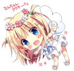 1girl :d ahoge angel_wings bangs blonde_hair blue_eyes blue_neckwear blush bow bowtie chibi dress flower full_body hair_flower hair_ornament head_wreath leaning_forward long_hair looking_at_viewer open_mouth original outstretched_arms pan_(mimi) simple_background smile solo spread_arms ten-chan_(pan_(mimi)) two_side_up white_background white_dress white_footwear wings wrist_cuffs