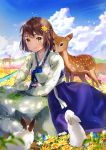 1girl ahoge animal arm_rest bangs blue_sky blush brown_hair cherim closed_mouth clouds cloudy_sky commentary_request day deer field flower flower_field hair_flower hair_ornament hanbok highres korean_clothes light_particles long_sleeves looking_at_viewer meadow mole mole_under_eye original outdoors rabbit rock short_hair sky smile solo tareme yellow_eyes yellow_flower