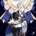 1boy blue_eyes butler character_name collared_shirt constellation cup english gloves houhou_(black_lack) male_focus monocle ribbon shirt silver_hair smile tailcoat tassel teacup teapot touken_ranbu tray white_gloves yamanbagiri_chougi