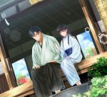 1boy 1girl black_hair blue_kimono blue_sky brown_eyes day dutch_angle food fruit glass glasses hakama izumi_(stardustalone) japanese_clothes kimono lens_flare long_hair original outdoors plant renri_no_chigiri_wo_kimi_to_shiru scenery sky smile soaking_feet summer veranda watermelon wind_chime
