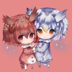 2girls :o bangs bird_tail blush brown_background brown_coat brown_eyes brown_footwear brown_hair chibi coat cottontailtokki eurasian_eagle_owl_(kemono_friends) full_body fur-trimmed_coat fur_trim grey_coat grey_footwear hair_between_eyes head_wings highres kemono_friends looking_at_viewer multiple_girls northern_white-faced_owl_(kemono_friends) pantyhose parted_lips silver_hair sparkle standing white_legwear