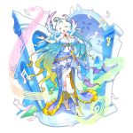 ahoge artist_request beamed_sixteenth_notes dragalia_lost dress eighth_note eyebrows_visible_through_hair feathers gem gradient_hair half_note hand_on_own_chest high_heels jewelry long_hair lucretia_(dragalia_lost) multicolored multicolored_hair music musical_note non-web_source official_art open_mouth pentagram quarter_note singing smile