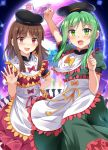 2girls :d apron arm_up bangs black_hat blush bow brown_hair clenched_hand commentary_request cowboy_shot dress e.o. eyebrows_visible_through_hair green_dress green_eyes green_hair hand_on_hip hand_up hat highres long_hair looking_at_viewer multiple_girls myouren_temple nishida_satono open_mouth palanquin_ship petticoat pink_eyes portal_(object) puffy_short_sleeves puffy_sleeves purple_bow purple_dress purple_ribbon ribbon short_hair_with_long_locks short_sleeves sidelocks smile sparkle teireida_mai touhou translation_request waist_apron white_apron yellow_bow yellow_ribbon