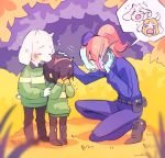 1other 2boys 2girls androgynous asgore_dreemurr asriel_dreemurr blue_skin blush brown_hair brown_pants bush child comforting crying delta deltarune fake_horns green_shirt headband highres horns kris_(deltarune) multiple_boys multiple_girls noaharbre pants phone police police_uniform policewoman ponytail red_headband red_horns redhead shirt toriel undyne uniform white_fur younger
