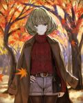 1girl aran_sweater autumn_leaves bag bangs belt belt_buckle blurry blurry_background brown_belt brown_coat brown_hair brown_legwear buckle closed_mouth coat commentary_request cowboy_shot day depth_of_field fingernails grey_eyes grey_shorts handbag head_tilt highres idolmaster idolmaster_cinderella_girls leaf long_sleeves maple_leaf mole mole_under_eye open_clothes open_coat outdoors pantyhose red_sweater short_shorts shorts shoulder_bag sleeves_past_wrists solo standing sweater takagaki_kaede thigh_gap tree turtleneck turtleneck_sweater yasukura_(shibu11)