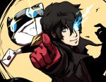 2boys absurdres amamiya_ren animal black_hair card cat gloves highres kloudraws looking_at_viewer male_focus mask morgana_(persona_5) multiple_boys nintendo open_mouth persona persona_5 red_eyes red_gloves short_hair smile super_smash_bros. super_smash_bros._ultimate