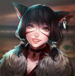 1girl absurdres animal_ears black_hair blurry blurry_background brown_eyes cat_ears choker close-up commission enmoire face facial_mark fangs final_fantasy final_fantasy_xiv hair_tubes highres jewelry looking_at_viewer miqo'te pendant scar short_hair single_earring smile solo tattoo whisker_markings