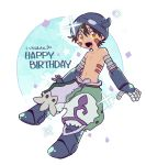 1boy :d absurdres bangs brown_hair commentary_request english facial_mark happy_birthday helmet highres horned_helmet looking_at_viewer made_in_abyss mechanical_arms mechanical_legs navel open_mouth puffy_pants regu_(made_in_abyss) shirtless smile solo transparent_background usuki_(usukine1go) yellow_eyes