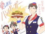 3boys ;) akuno_hideo apron brown_hair burger_skater_(idolmaster) food frame_(idolmaster) french_fries hamburger hat headset idolmaster idolmaster_side-m ketchup_bottle kimura_ryuu male_focus multiple_boys one_eye_closed shamushamu shingen_seiji smile violet_eyes