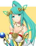1girl bangs bare_shoulders blush breasts cosplay dolling60883582 dress eyebrows_visible_through_hair green_hair hair_ornament highres jewelry kid_icarus kid_icarus_uprising large_breasts long_hair looking_at_viewer nintendo palutena palutena_(cosplay) pneuma_(xenoblade_2) ponytail simple_background smile solo spoilers staff super_smash_bros. super_smash_bros._ultimate xenoblade_(series) xenoblade_2