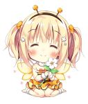 1girl :d ^_^ ankleband antennae bangs barefoot bee_costume blonde_hair blush chibi closed_eyes closed_eyes commentary_request dress eyebrows_visible_through_hair fake_antennae flower frilled_dress frills hair_flower hair_ornament hairband holding holding_flower open_mouth orange_scrunchie original pan_(mimi) scrunchie simple_background sitting smile solo striped striped_dress ten-chan_(pan_(mimi)) twintails wariza white_background wings wristband