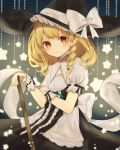 1girl apron back_bow blonde_hair blush bow braid closed_mouth commentary cowboy_shot curiosities_of_lotus_asia frills hat highres holding jpeg_artifacts kirisame_marisa lace-trimmed_collar light_particles long_hair looking_at_viewer orange_eyes puffy_short_sleeves puffy_sleeves ribbon-trimmed_clothes ribbon_trim short_sleeves side_braid smile solo star symbol_commentary touhou waist_apron white_bow witch_hat wrist_cuffs yedan