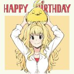 1girl animal animal_on_head annie_berton bangs bird bird_on_head blonde_hair border borrowed_character breasts brown_eyes commentary english_commentary eyebrows_visible_through_hair hair_intakes happy_birthday highres long_hair on_head original pas_(paxiti) shirt small_breasts smile tori_(matsuda_(matsukichi)) upper_body white_shirt