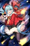 1girl :d aqua_eyes aqua_hair bangs black_legwear black_skirt blush bow bridal_gauntlets christmas commentary_request eyebrows_visible_through_hair fang fur_trim hair_bow hatsune_miku hood hood_down hooded_jacket jacket legs_up long_hair long_sleeves looking_at_viewer mamemena open_clothes open_jacket open_mouth pantyhose red_bow red_footwear red_jacket shoes sidelocks skirt smile solo star striped striped_bow twintails very_long_hair vocaloid wide_sleeves