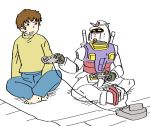 1boy amuro_ray barefoot blue_pants brown_hair butterfly_sitting commentary_request controller denim game_cartridge game_console game_controller gundam holding_controller indian_style jeans long_sleeves mecha mobile_suit_gundam pants rx-78-2 shirt short_hair sitting sitting_on_ground sweatdrop turtleneck weapon weapon_on_back yellow_shirt yoshino_norihito