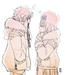 ... 1boy 1girl ^_^ anastasia_(fate/grand_order) bangs blush closed_eyes closed_eyes closed_mouth coat cowboy_shot eighth_note facing_another fate/grand_order fate_(series) fur-trimmed_coat fur_hat fur_trim hair_between_eyes hand_in_pocket hands_in_opposite_sleeves hat highres kadoc_zemlupus long_hair monochrome musical_note profile simple_background smile sofra spoken_ellipsis spoken_musical_note very_long_hair white_background