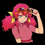 1girl aikatsu!_(series) aikatsu_friends! aqua_eyes asuka_mirai_(aikatsu_friends!) black_background bow close-up commentary_request cropped_arms cropped_torso dress eyebrows_visible_through_hair grin long_hair looking_at_viewer redhead removing_eyewear short_sleeves smile solo sunglasses twintails upper_body yoban