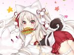 1girl :3 animal_ears animal_hood ass azur_lane bangs bare_shoulders blush breasts closed_mouth commentary_request creature detached_sleeves eyebrows_visible_through_hair fang fang_out food_in_mouth gradient gradient_background grey_hair highres hood hood_up hot_dog ju_(a793391187) long_hair long_sleeves medium_breasts mouth_hold pink_background pleated_skirt pom_pom_(clothes) red_eyes red_ribbon red_skirt ribbon short_eyebrows skirt slit_pupils solo tail tail_raised thick_eyebrows very_long_hair violet_eyes white_background white_sleeves wolf_ears wolf_girl wolf_hood wolf_tail yuudachi_(azur_lane)