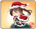 1girl =_= artist_name asymmetrical_legwear black_gloves brown_hair cape chibi elbow_gloves fake_facial_hair fake_mustache full_body fur-trimmed_cape fur_trim gloves hair_between_eyes hair_ribbon hat kantai_collection long_hair pelvic_curtain red_cape remodel_(kantai_collection) ribbon santa_hat single_elbow_glove single_glove single_thighhigh solo standing taisa_(kari) thigh-highs tone_(kantai_collection) twintails white_ribbon yellow_background