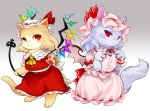 2girls :< :3 animal animalization bow cat chamaruku closed_mouth clothed_animal commentary_request fingernails flandre_scarlet frilled_sleeves frills half-closed_eyes hat lavender_fur lavender_hair looking_at_viewer mob_cap multiple_girls nail_polish no_eyebrows paws pink_hat pink_wings red_bow red_eyes red_nails remilia_scarlet sharp_fingernails short_sleeves slit_pupils touhou wings yellow_neckwear