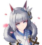 1girl absurdres animal_ears azur_lane bangs blue_eyes blunt_bangs diberzs eyeliner eyeshadow fox_ears fox_girl fox_mask fur_trim highres japanese_clothes kaga_(azur_lane) kimono kitsune makeup mask mask_on_head solo white_hair white_kimono